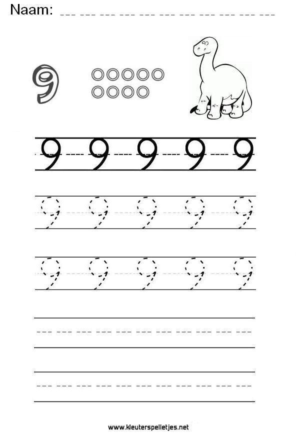 Cijfer 9. Leer het cijfer negen schrijven, werkblad om te printen en het schrijven van het cijfer 9 te oefenen.