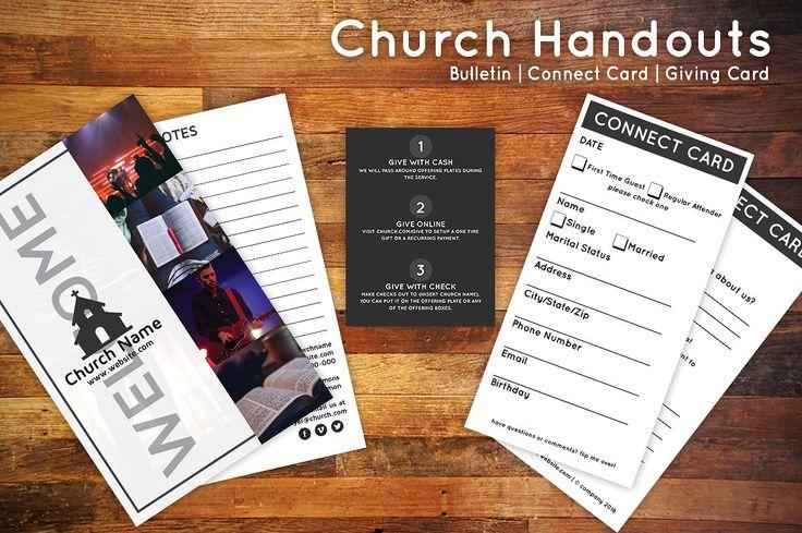 Church bulletin connect card flyer churches church for Church brochure design