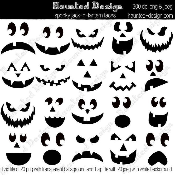 Jack-o-Lantern Spooky Faces Digital Download JPEG with white background and PNG with transparent background jackolantern pumpkin template by HauntedDesign on Etsy