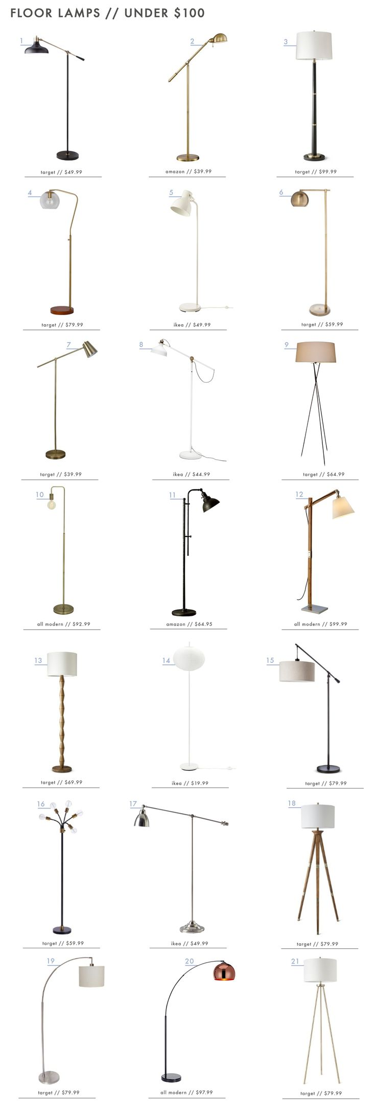 Best 25 floor lamps ideas on pinterest lamps floor lamp and 21 awesome floor lamps under 100 jameslax Image collections