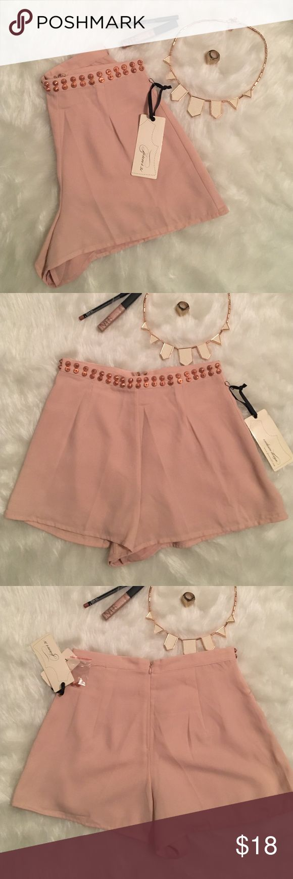 Nude and gold shorts Pinkish nude shorts with rose gold accents Forever 21 Shorts