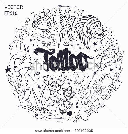 Старая школа татуировки элементы вектора.  Мультфильм векторные иллюстрации в стиле смешной: якорь, кинжалом, череп, цветок, звезда, сердце, глотать птицу.