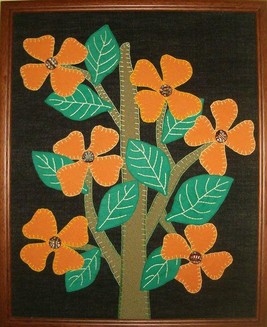 Flores Silvestres. Tapiz confeccionado en técnica de Patchwork