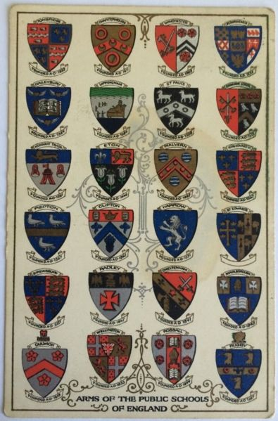 English: A postcard dated 15/08/1911 displaying the arms of all the major public schools in England. From top to bottom (left to right): Tonbridge/ Charterhouse/ Winchester/ Bedford/ Haileybury/ Uppingham/ St Pauls/ (Manchester) Grammar School/ Merchant Taylor/ Eton/ Malvern/ King Edward VI (Birmingham)/ Repton/ Clifton/ Harrow/ St Edwards/ Shrewsbury/ Radley/ Cheltenham/ Malborough/ Dulwich/ Wellington/ Rossall/ Rugby Date	30 July 2014, 18:34:51 Source	Own work Author	Disclosure07