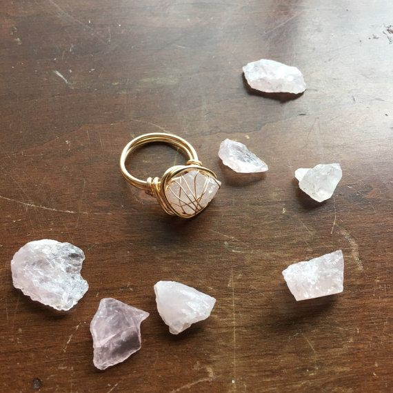 Rose Quartz ring / raw quartz ring / raw crystal ring / wire wrapped ring / boho bohemian ring / rough crystal ring rough Quartz