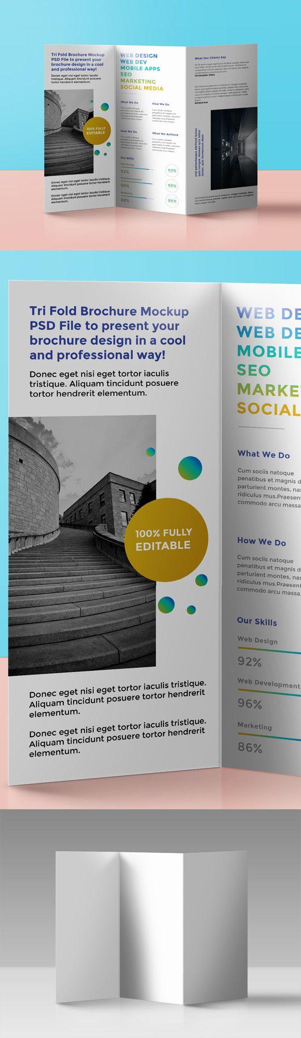 brochure 3 fold template psd - free tri fold brochure mockup psd free psd files