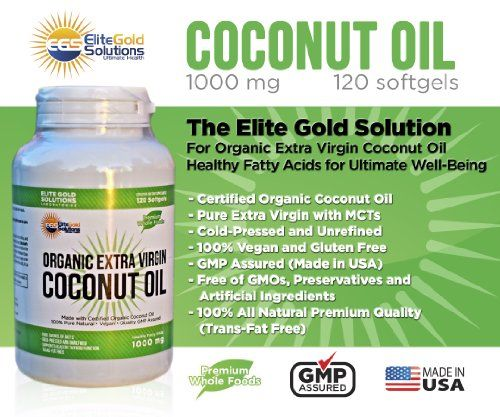 Extra Virgin Coconut Oil Capsules Raw Coconut Oil Organic Extract 100 Percent Pure Coconut Oil Pills 1000 Mg Supplement for Energy, Healthy Heart & Weight Loss (Elite Gold Solutions)