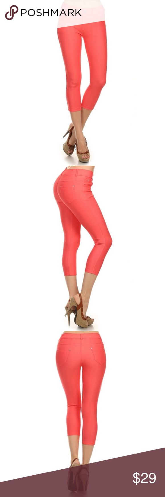 Basic Coral Capri Jeggings Basic Coral Capri Jeggings. Features- Five functional pockets. Classic style, smooth, stretchy, he Original is smooth, stretchy, belt loops, lightweight, fits like a glove, rhinestones pocketing and button embellishment. Material- 68% Cotton, 27% Polyester, 5% Spandex. Other colors available, bundle to save. Pants Capris