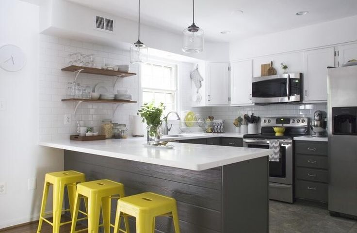Yellow grey kitchen kitchen ideas pinterest the o for Yellow and gray kitchen