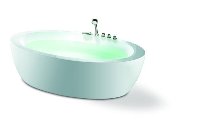 Oval badekar. 180 x 95 x 60 cm. Stilrent og flott badekar med overløp. Kan påmonteres karkantbatteri. Er avbildet med VikingBad blandebatteripakke Runde II