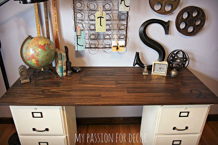 Goodwill filing cabinets turned desk painted in Chalk Paint(R) by Annie Sloan in Old White