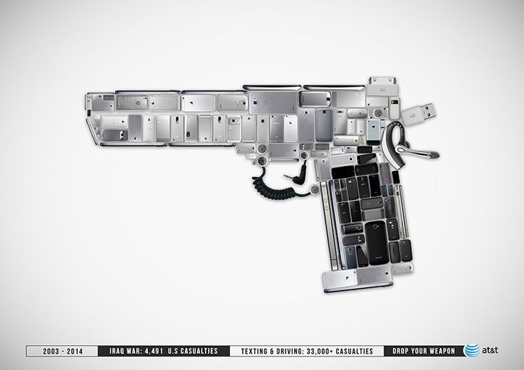 drop your weapon campaign visualizes dangers of texting and driving