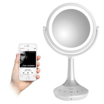 iHome 5X White Double-Sided Vanity Mirror with Bluetooth Speaker