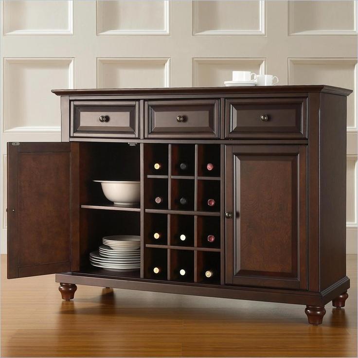 Crosley Furniture Cambridge Buffet Server Sideboard Cabinet In Vintage Mahogany