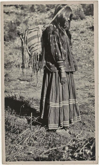 American Indian's History: Historic Apache Indian Girls Photo Gallery-Apache-Indian-girl-carrying a basket-1919-Arizona