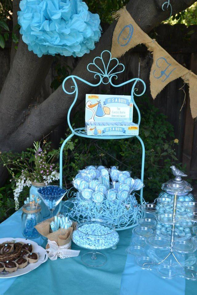 wedding shower candy buffet ideas%0A Outdoor Blue Baby Shower  Candy Table  Burlap  birds  u     blue
