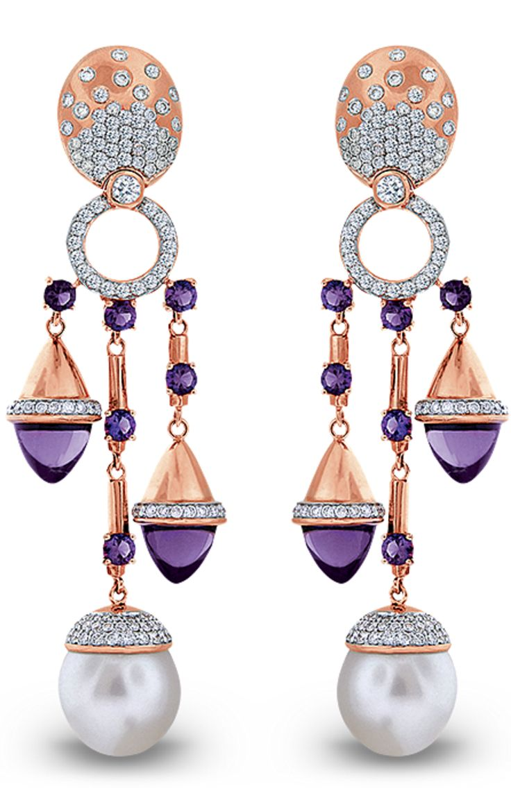 {18K rose gold earrings set with two Australian South Sea pearls each 13.65mm, 16 amethysts totaling 23.04 carats and 332 brilliant cut diamonds totaling 4.10 carats.-by Jacob & Co.} ht