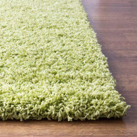 Super Area Rugs, Cozy Plush Solid Green Shag Rug , 3' 3 inch x 5' 3 inch