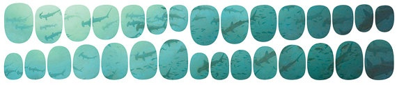 FOR ME!! Blue Ombre School of Sharks Nail Decal Set by IHeartNailArt, $6.00  http://www.etsy.com/listing/113518317/blue-ombre-school-of-sharks-nail-decal