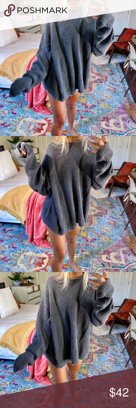 devyn    charcoal speckled oversized knit gorgeous charcoal speckled crewneck knitted oversized sweater. so so cozy and perfect!!! no size tags // fit...