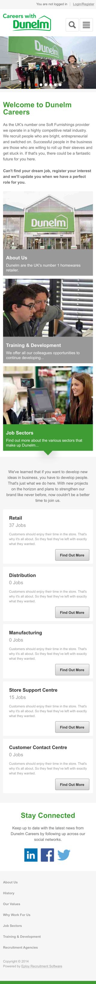 Dunelm Mill mobile-responsive careers site