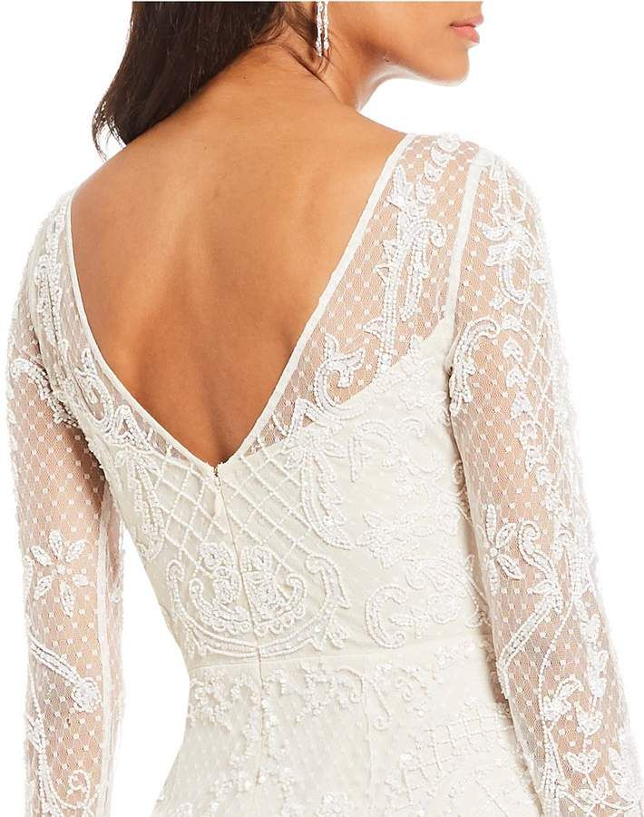 Adrianna Papell Long Sleeve Lace Beaded Illusion Gown Long Sleeve