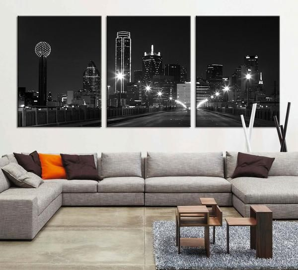 large canvas print texas dallas skyline black u0026 white night cityscape dallas large art