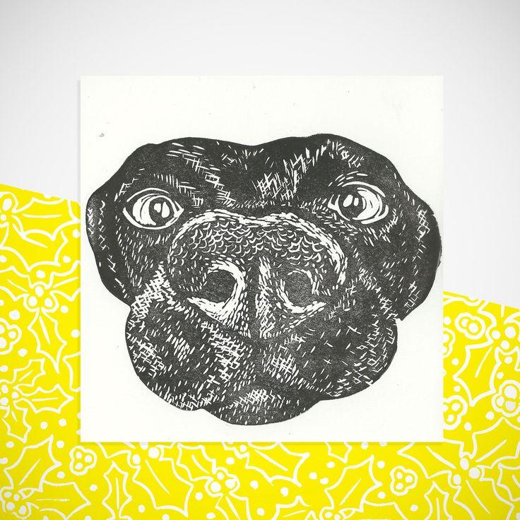 Black Lab Print! handprinted greetings card. Birthday. Any occasion Blank inside…