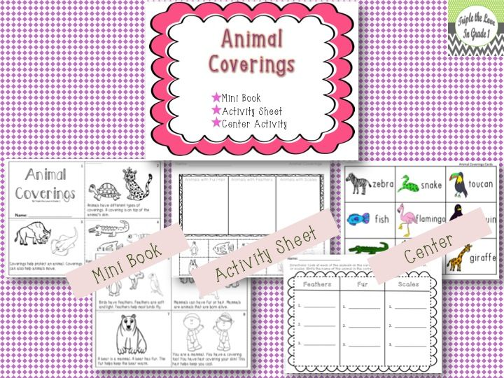 $2 Animal Coverings includes 3 activities: mini reader, activity sheet and center activity