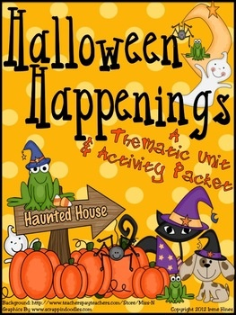 Halloween Happenings : A Thematic & Activity Packet For Halloween.  This unit has 50 pages of games, activities and printables all relating to Halloween.   ~Halloween Word & Book List  ~ Making Connections ~ Five Senses Printable  ~ Halloween Rhymes & Verbs  ~ Halloween Word Scramble & Web  ~ Writing Activities  ~ ABC Order Activity   ~ Venn Diagrams  ~ Word search & Maze  ~ Many Graphic Organizers ~ Math Ghost-It Games
