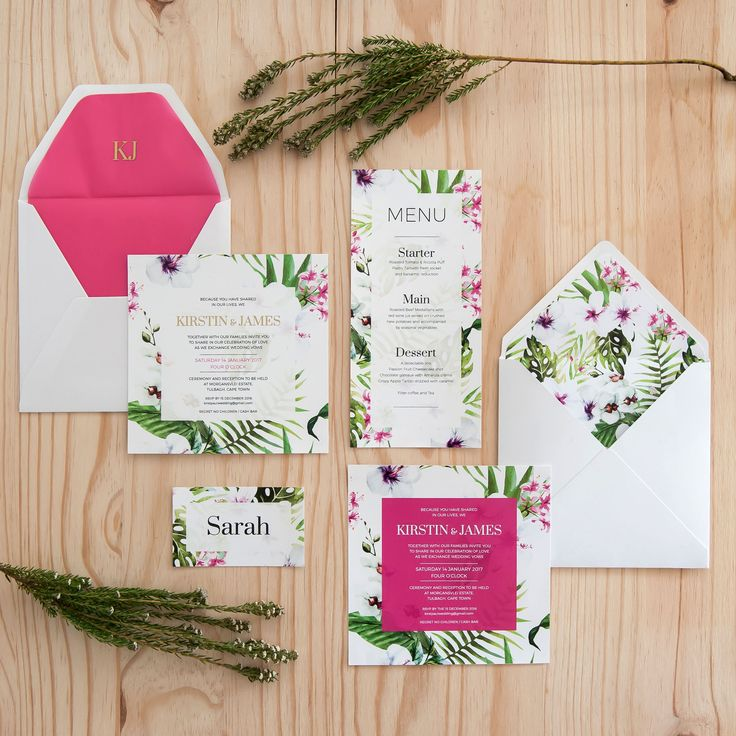 Cerise pink and green complement each other amidst a floral background, with accents of gold foiling in this striking wedding invitation