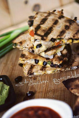 Grilled Chicken Quesadillas via GirlCarnivore.com
