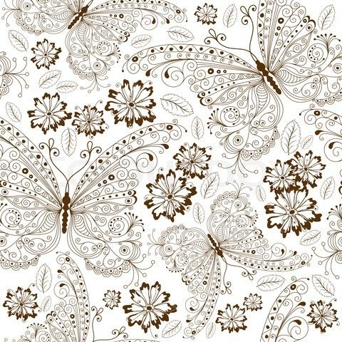 Vintage Flower Patterns White Fl Pattern With Brown Erflies And Flowers