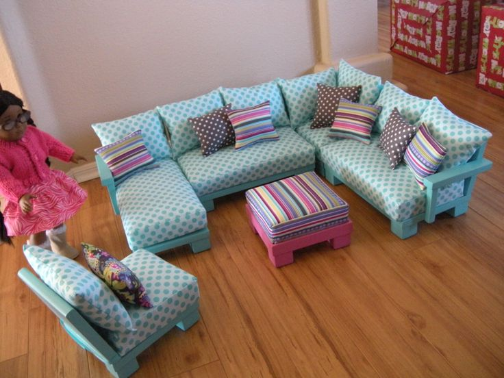 Doll Couch Chairs Living Room Furniture Sectional for American Girl Dolls or 18-inch Dolls