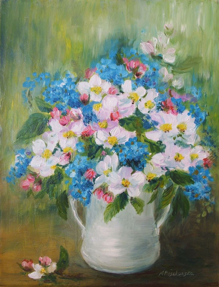 Wiosna w dzbanie - olej - Maria Roszkowska