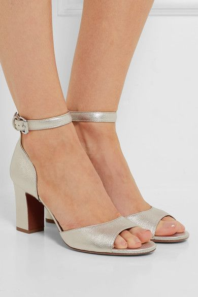 Heel measures approximately 75mm/ 3 inches Champagne leather Buckle-fastening ankle strap Made in Italy