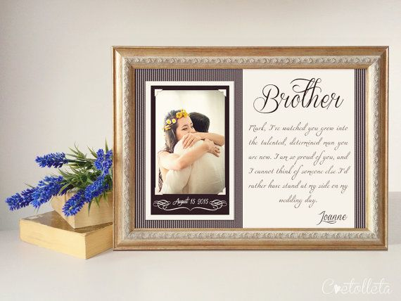 "Brother Wedding Gift - Best Friend Thank You gift Wedding, Gift for Best Friend of the Bride, Custom Wedding Gift, 11""x15"""