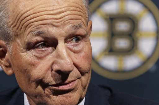 Bruins owner says firing coach Claude Julien was 'overdue'  -  May 3, 2017:    Boston Bruins NHL hockey team owner Jeremy Jacobs speaks during a news conference to reflect on this past season, Tuesday, May 2, 2017, in Boston. The Bruins made it back to the playoffs for the first time in three seasons before losing to the Ottawa Senators. (AP Photo/Elise Amendola)