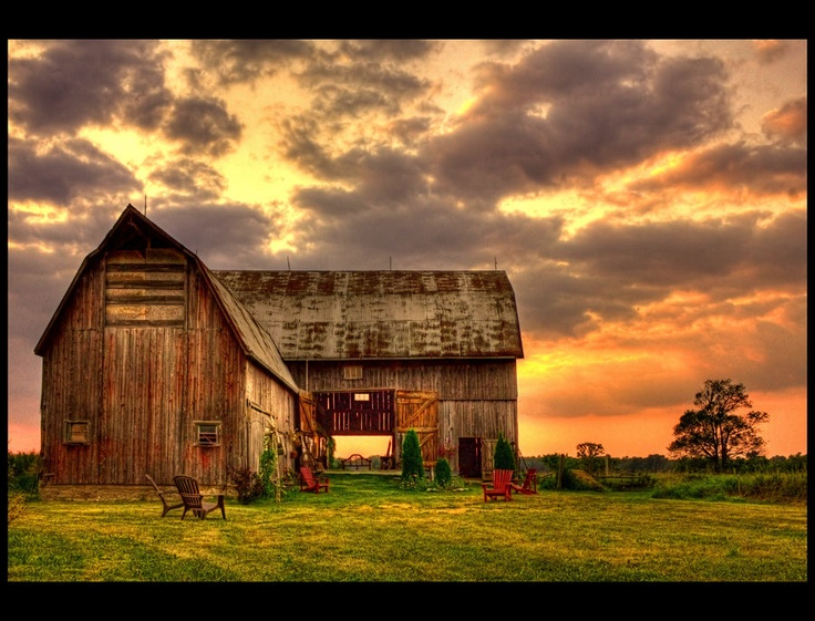*Barn in the sunset