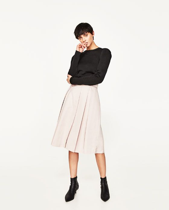 Keep the palate balanced with this Zara Sateen Skirt with Box Pleats and Belt