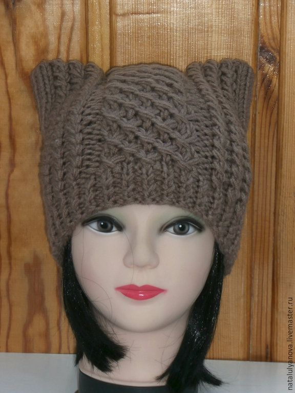 Купить Шапка- кошка , шапка с ушками. вязаная спицами шапка - коричневый, абстрактный, шапка вязаная