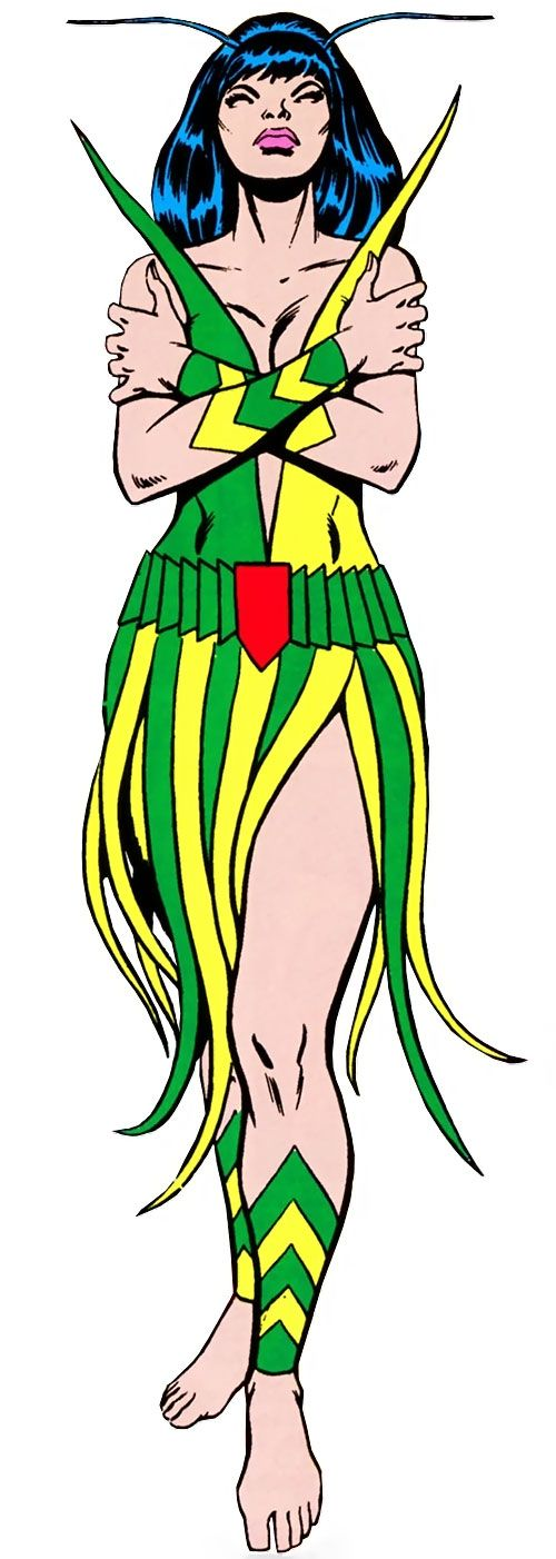 Full character profile for Mantis, covering her comic book appearances (all publishers) from 1973 to 1987. Stories, pictures, biography, powers, personality