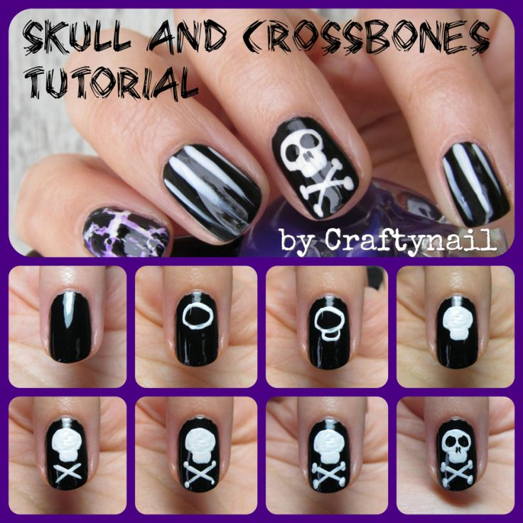skull nail art tutorial by Craftynail