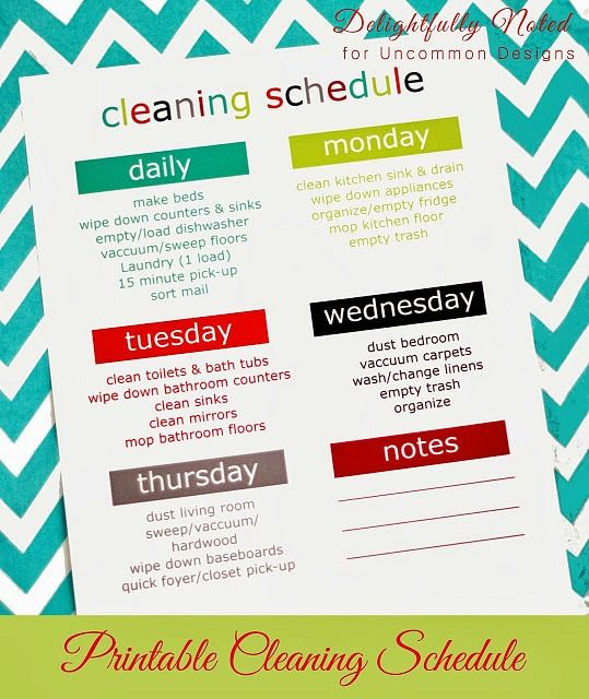 Printable Weekly Cleaning Schedule  via www.uncommondesignsonline.com  #cleaningschedule  #freeprintables