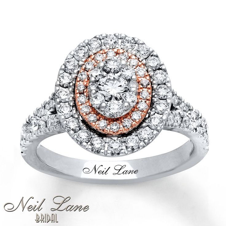 Shimmering round diamonds are set in an oval of 14K white and rose gold in this stunning engagement ring from Neil Lane Bridal®. The engagement ring has a total diamond weight of 1 1/5 carats. Neil Lane's signature appears on the inside of the band. Diamond Total Carat Weight may range from 1.18 - 1.22 carats.
