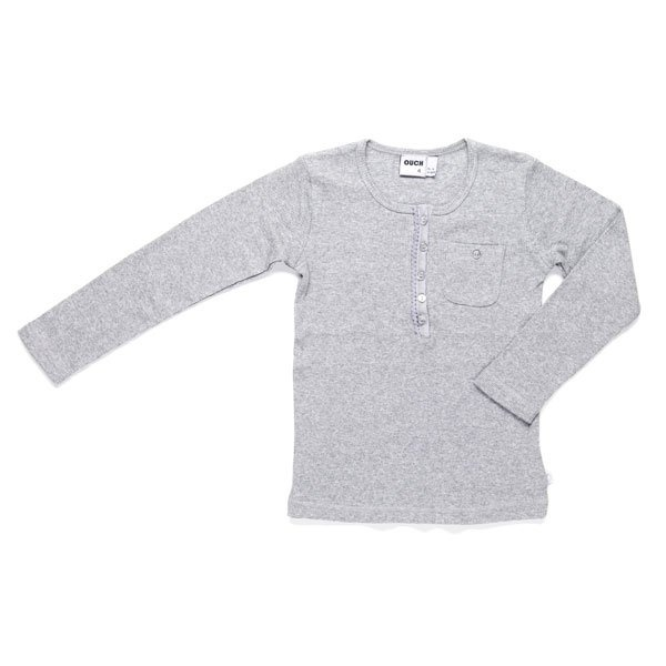 Ouch Toddler grandpa tee - grey marle, little styles