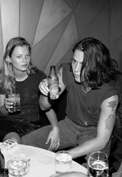 Young Kate Moss and Johnny Depp