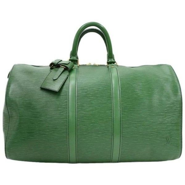 Preowned Vintage Louis Vuitton Keepall 45 Green Epi Leather Duffle... (2,430 ILS) ❤ liked on Polyvore featuring bags, luggage, duffel bags and green