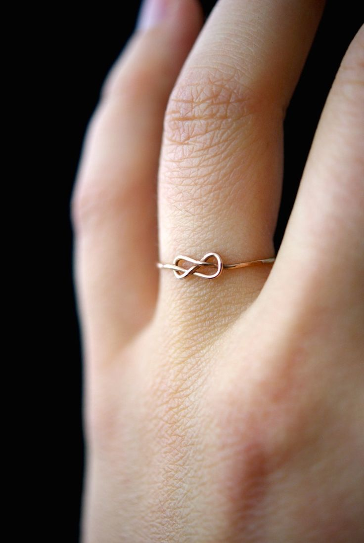 Rose Gold Infinity Knot ring, Rose Gold ring, rose gold knot ring, gold-fill stacking ring, knot ring, infinity ring, rose gold ring by hannahnaomi on Etsy https://www.etsy.com/listing/249149224/rose-gold-infinity-knot-ring-rose-gold