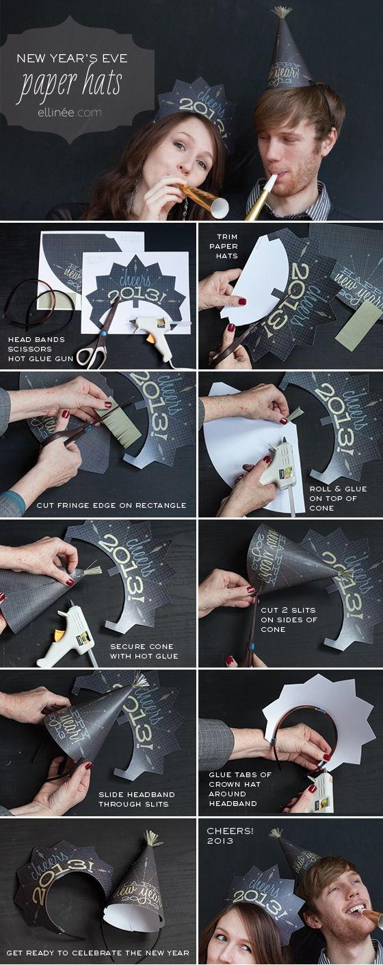 Heart Handmade UK: New Years Eve Free Printable Party Hat DIY Tutorial From Elinee